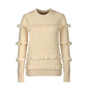 Michael Kors Beige Rib Ruffle Sweater